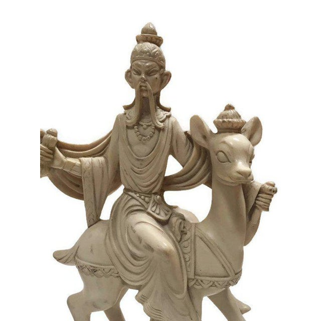 Resin Mid Century Chinoiserie God & Goddess on Deer Statue Set - a Pair For Sale - Image 7 of 13