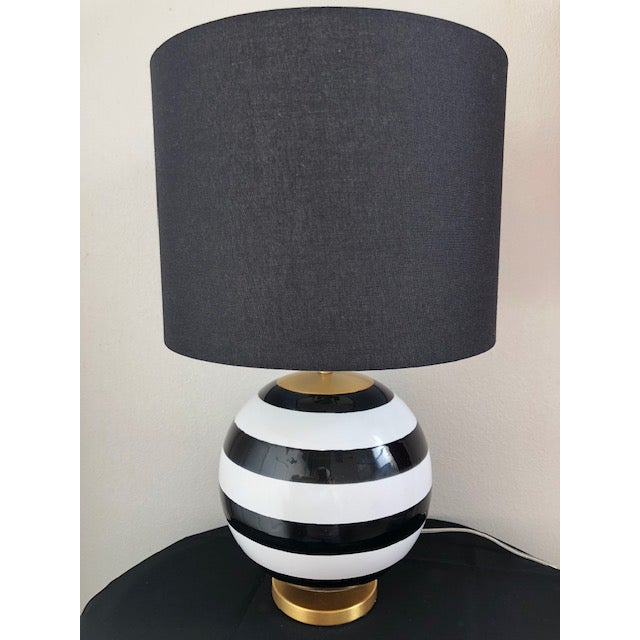 Kate Spade New York Black and White Striped Globe Table ...