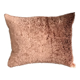 Coral Faux Lamb Rectangular Pillow With Down Filler For Sale