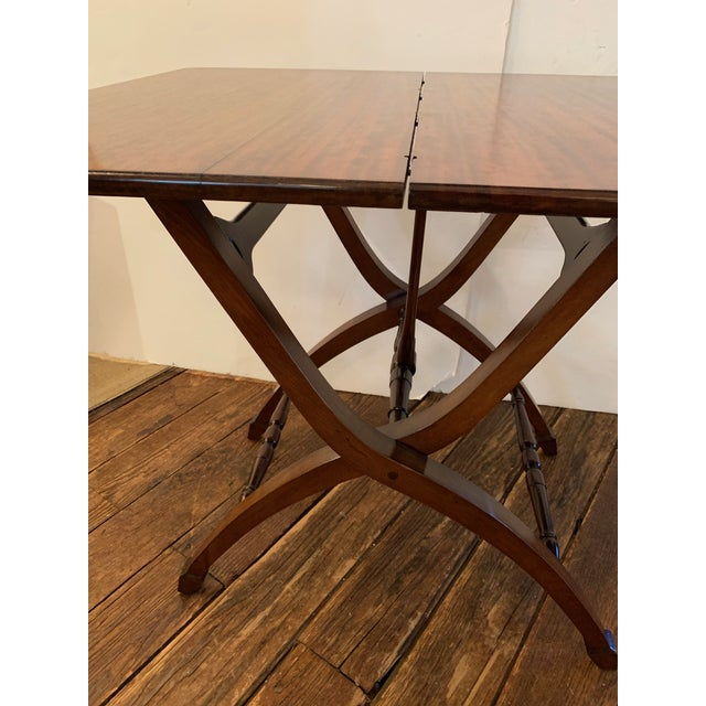 Benjamin Versatile Campaign Style Mahogany Side or Dining Table For Sale - Image 4 of 13