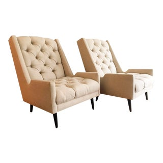 Jonathan Adler Tufted Parker Chairs - A Pair For Sale