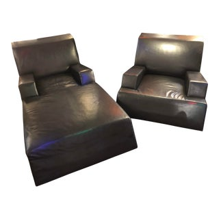 Catherine Chanicci Collection Black Leather Lounge Chair and Chaise - 2 Piece Set For Sale
