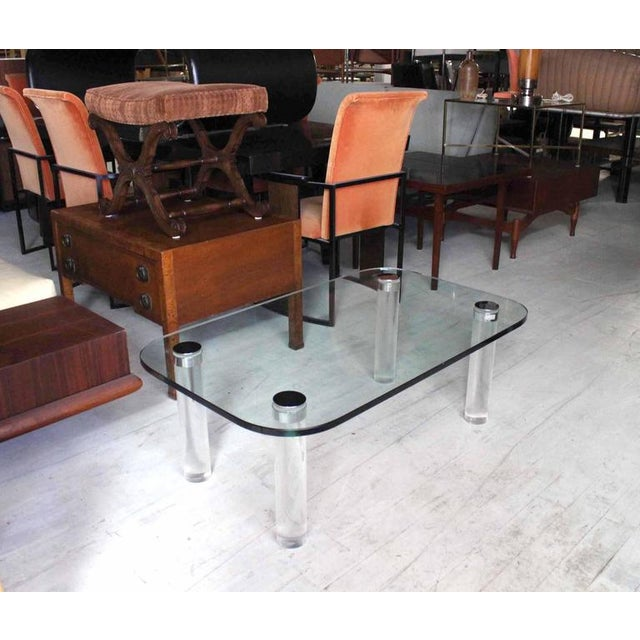 """Nice thick Lucite legs coffee table with thick 3/4"""" glasstop."""