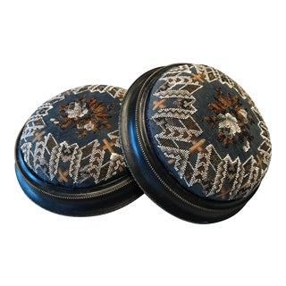 Late 19th Century Antique Victorian Beaded & Hand-Stitched Footstools - A Pair For Sale