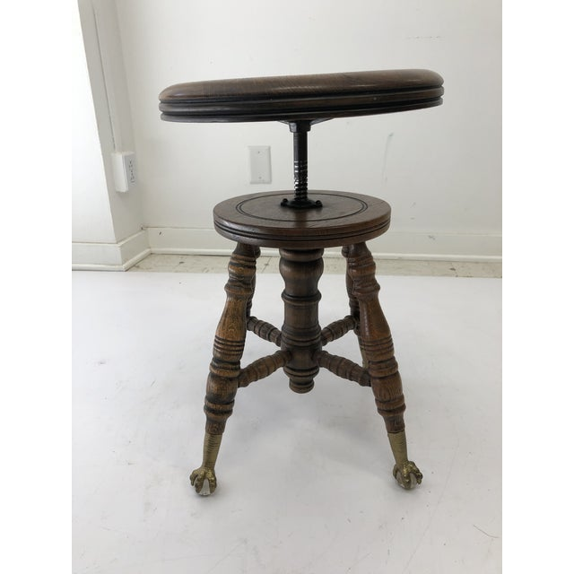 Black Antique Swivel Wood Piano Stool With Ball & Claw Feet For Sale - Image 8 of 13
