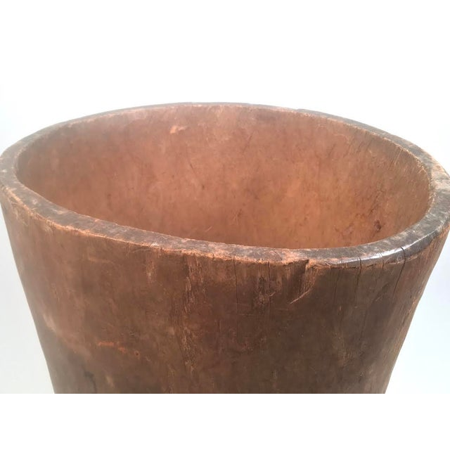 Early 19th Century Primitive Antique Carved Tree Trunk Storage Barrel For Sale - Image 5 of 9