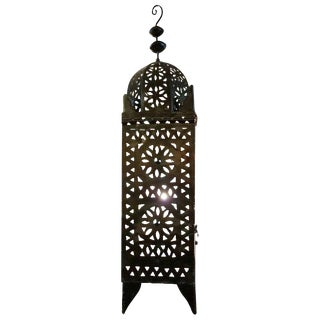 Moroccan Metal Tower Style Lantern For Sale