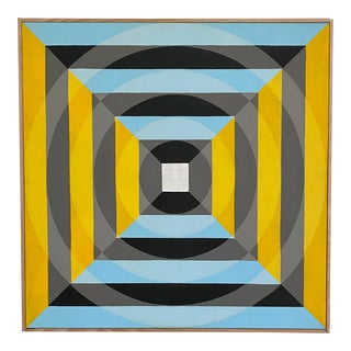Colorful Original Hard Edge Op-Art Painting on Canvas by J. Marquis For Sale