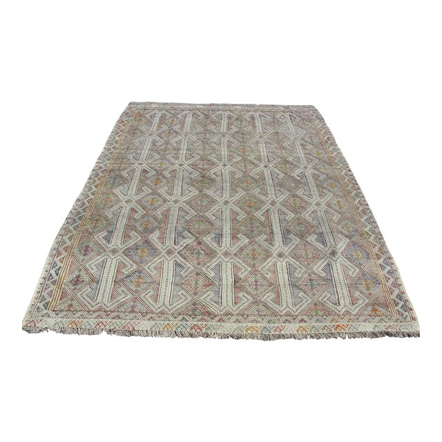 Vintage Turkish Kilim Rug - 5′7″ × 8′1″ For Sale