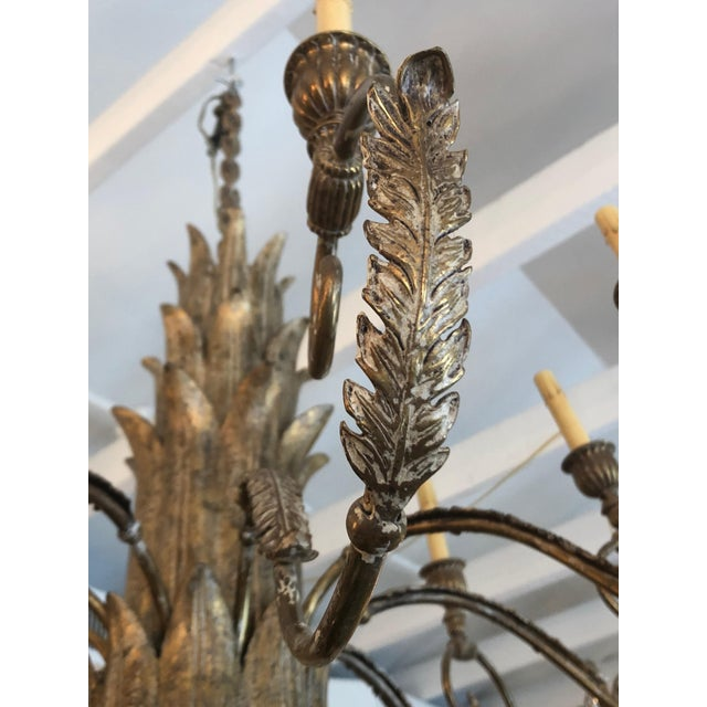 Contemporary Large Gilded 9 Arm Chandelier For Sale - Image 4 of 9