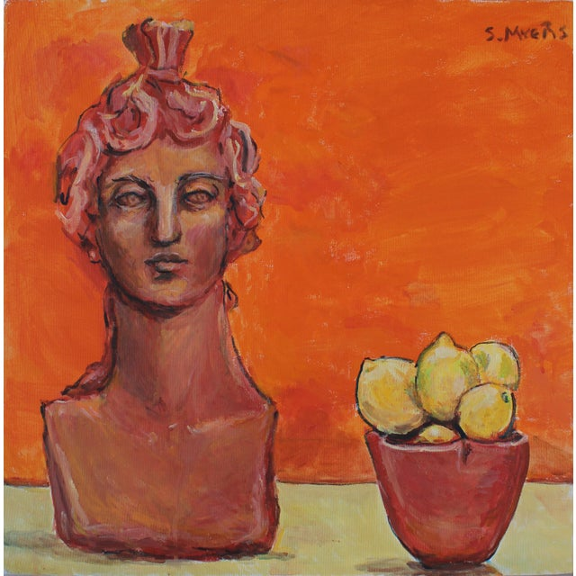 "2016 Sarah Myers ""Sculpture and Lemons"" Original Acrylic on Canvas Painting For Sale"