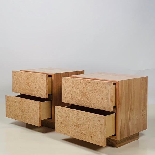Early 21st Century Minimalist 'Amboine' Burl Wood Nightstands by Design Frères - a Pair For Sale - Image 5 of 12