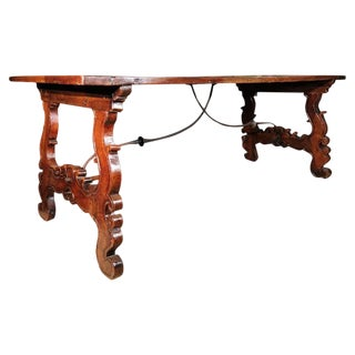 18th Century Italian Walnut and Iron Trestle Table For Sale