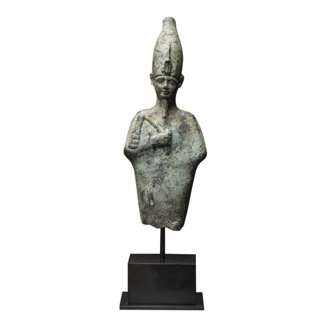 Egyptian Bronze Standing Figure of Osiris For Sale