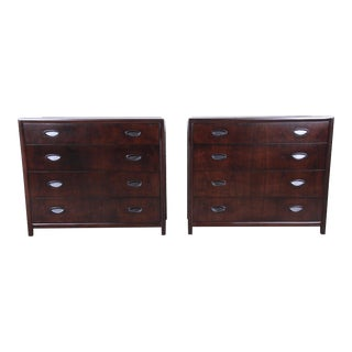 Michael Taylor for Baker Dark Cherry Bachelor Chests or Large Nightstands, Newly Restored - a Pair For Sale