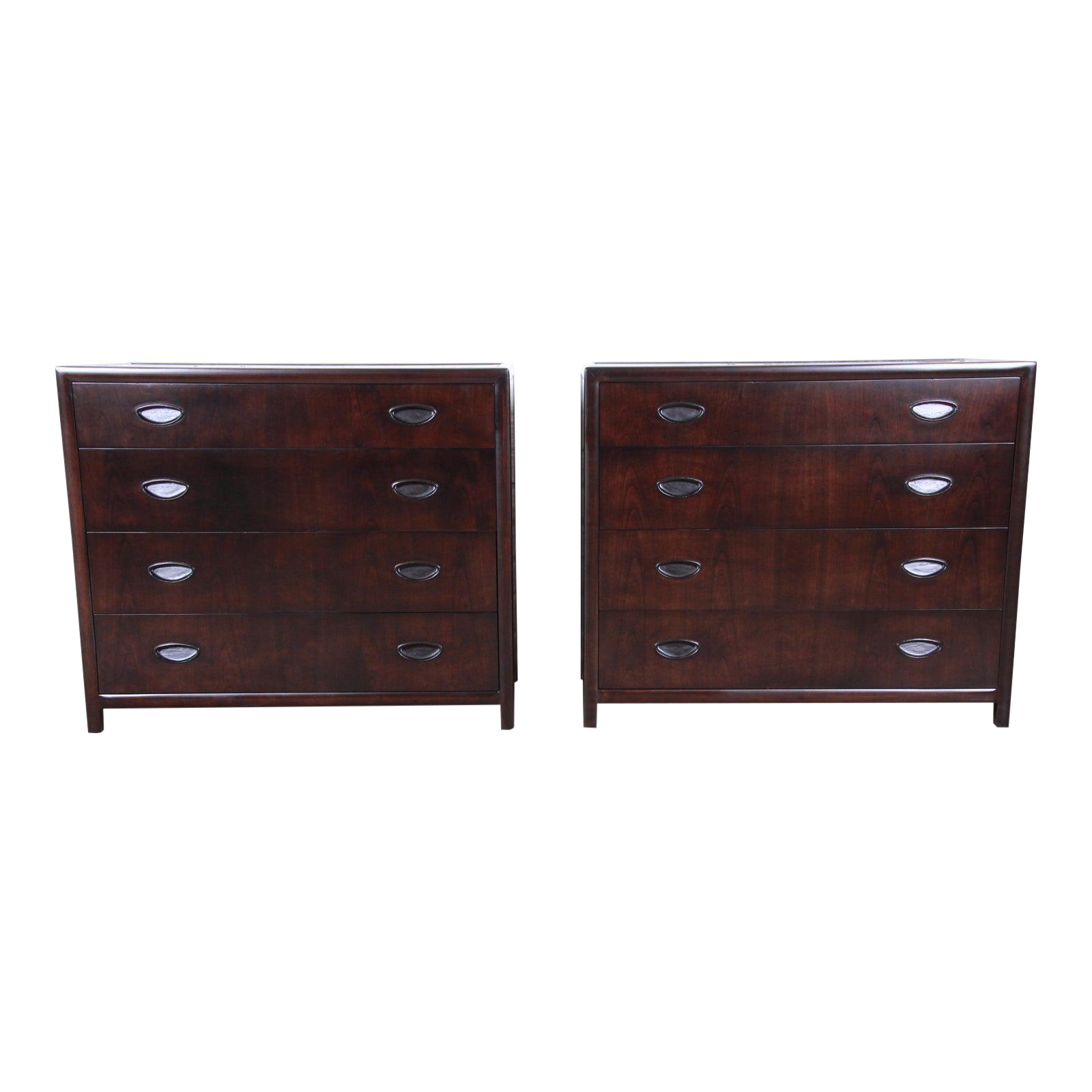 Michael Taylor For Baker Dark Cherry Bachelor Chests Or Large Nightstands Newly Restored A Pair