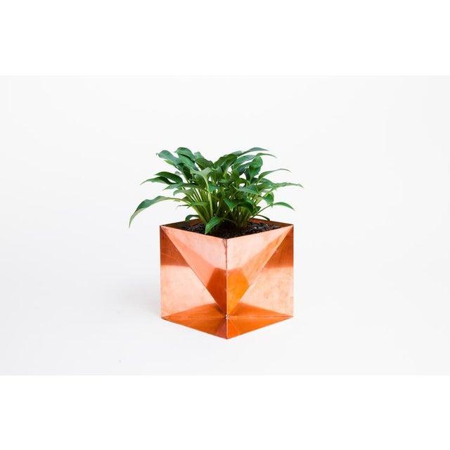 "Trey Jones Studio Origami Planter - Copper 14"" For Sale - Image 4 of 4"