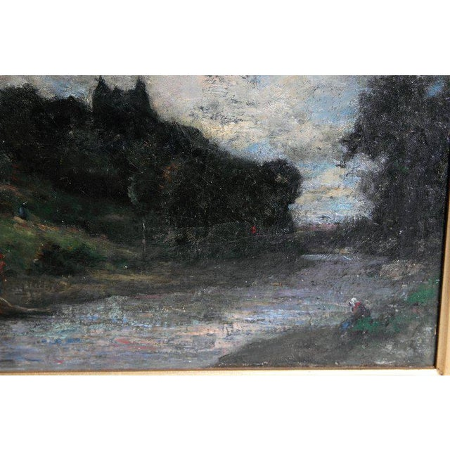 Canvas 19th Century English Oil Canvas Atmospheric Landscape For Sale - Image 7 of 13