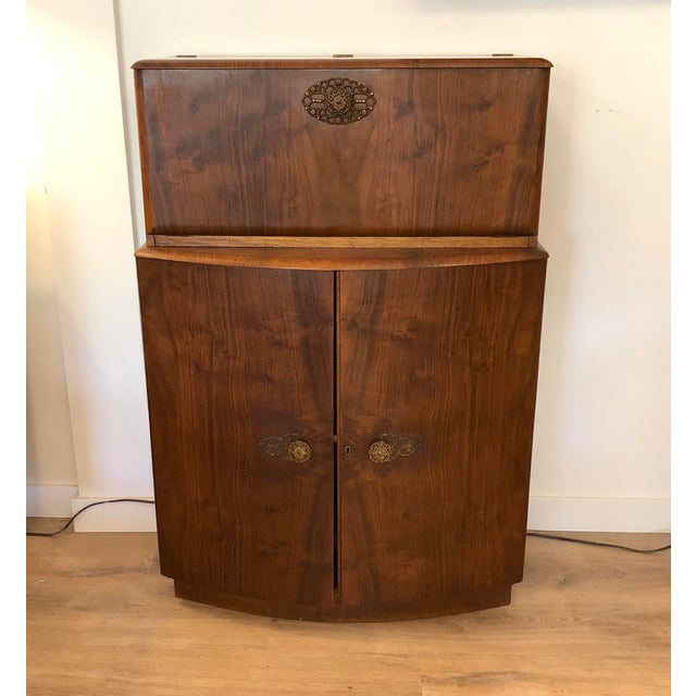 1950s Vintage Drop Door Liquor Cabinet With Mirrors For Sale - Image 9 of 9
