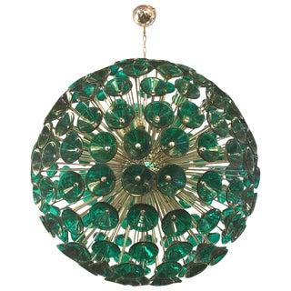 Italian Green Murano Trumpets Chrome Sputnik For Sale