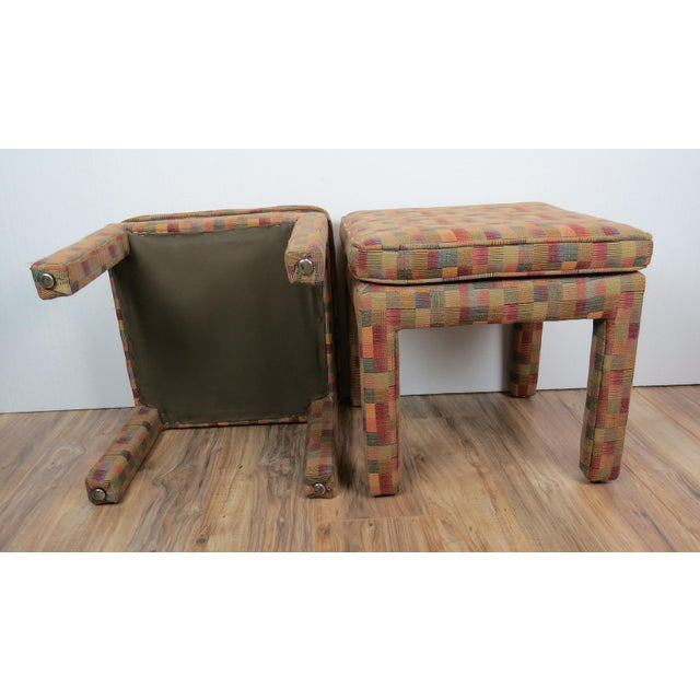 1980s Vintage Multicolor Parsons Stools - a Pair For Sale - Image 12 of 13