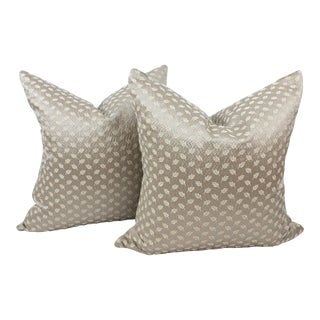 Custom Ralph Lauren Gilded Leaf Silver Throw Pillows - a Pair For Sale