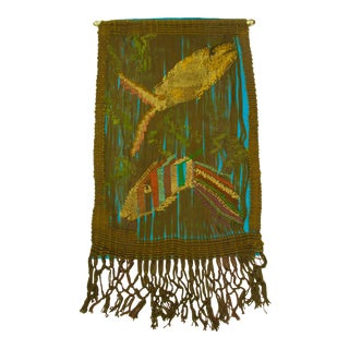 Mid-Century Fiber Art Textile Wall Hanging of Fish For Sale