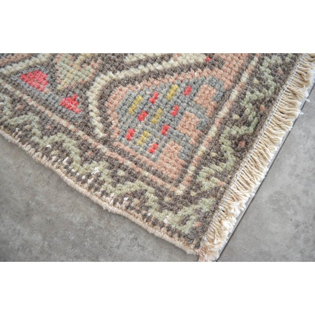 Cottage Distressed Low Pile Turkish Yastik Rug Faded Bathrom Rug Mat - 1'8'' X 3'1'' For Sale - Image 3 of 4