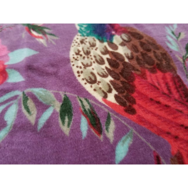 Asian 10 Yards Purple Chinoiseri Cotton Velvet For Sale - Image 3 of 4