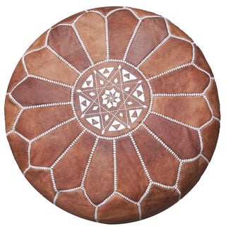 Dark Tan Moroccan Leather Pouf For Sale