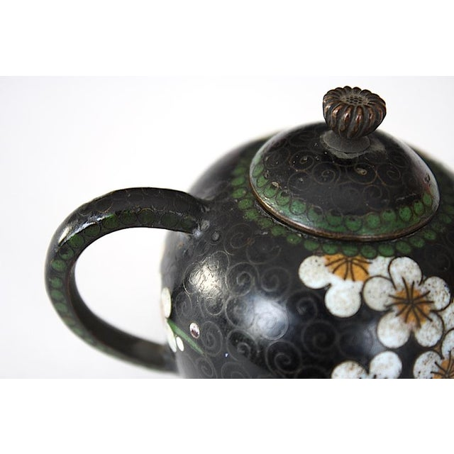 Metal Antique Miniature Japanese Cloisonne Teapot For Sale - Image 7 of 13