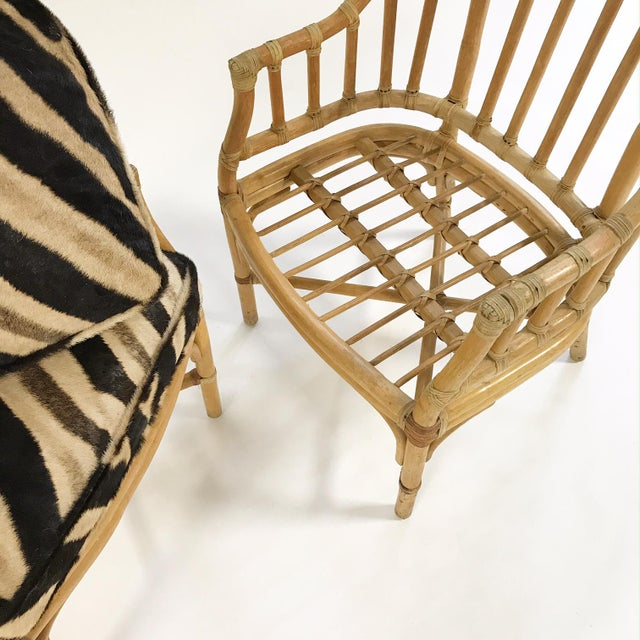 Forsyth Rattan Armchairs with Custom Zebra Hide Cushions - A Pair For Sale - Image 5 of 7