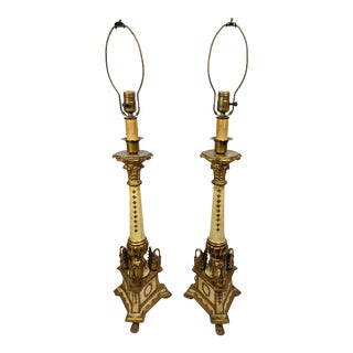 Mid-Century Wood Italian Swan Gilded Lamps - a Pair For Sale