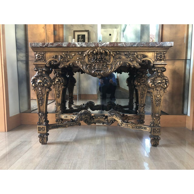 A Gilt-wood and Guesso Pier Table in Louis XIV Style. This Gran Baroque Table is of the late 17th/Early 18th Century...