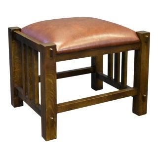 Quarter Sawn Oak & Leather Mission Spindle Stool For Sale