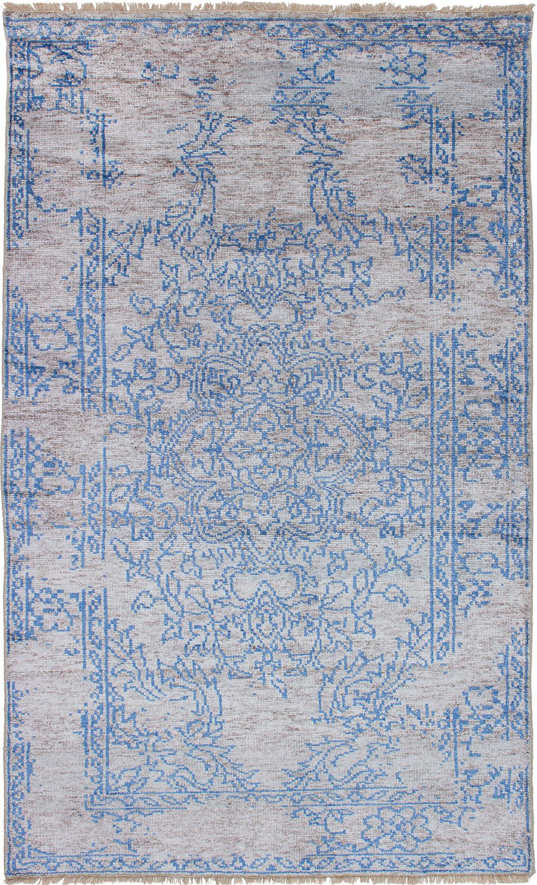 Boho Chic Turkish Gray Blue Handmade Wool Silk Rug 4 10 8