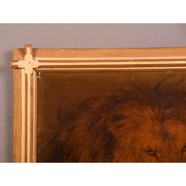 French 1930s Gilded Framed Oil Painting of Lion For Sale - Image 3 of 7