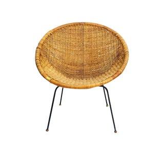 Mid Century Modern Rattan Hoop Chair Saucer Basket Chair