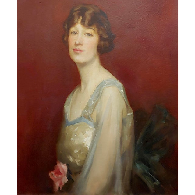 Roland Hinton Perry -Portrait of a Woman in a Stylish Dress -C.1919 Oil Painting For Sale - Image 4 of 11