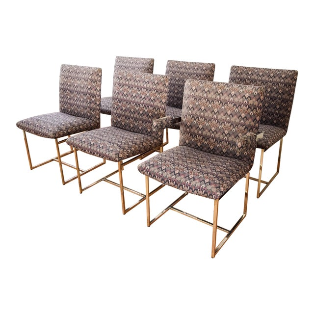 Mid-Century Milo Baughman Style Dining Chairs - Set of 6 - Image 1 of 11