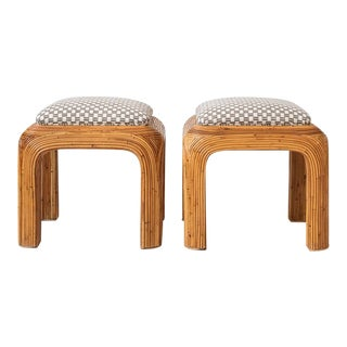 Pair of Vintage Upholstered Pencil Reed Rattan Ottomans