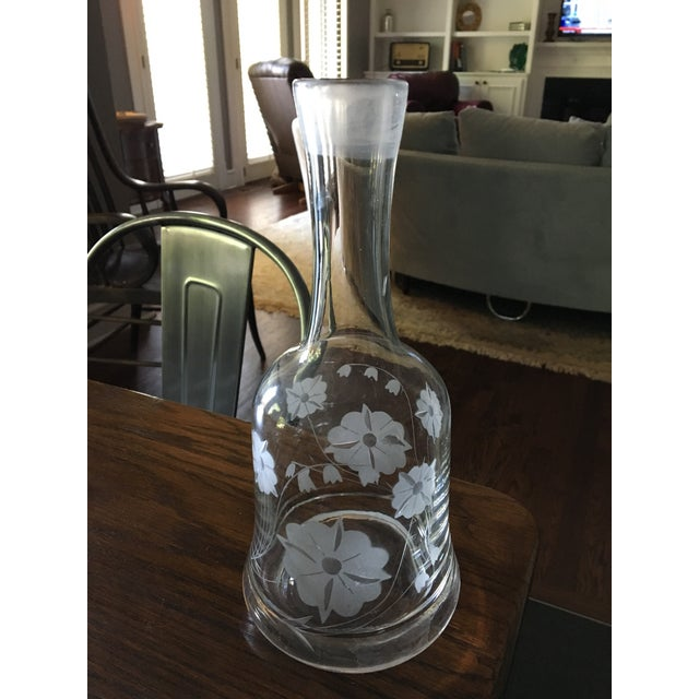Mid-Century Cut Glass Floral Decanter - Image 3 of 5