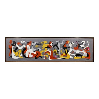 Mid-Century Modern Framed Figurative Oil on Board Painting Signed Upson, 1970s For Sale