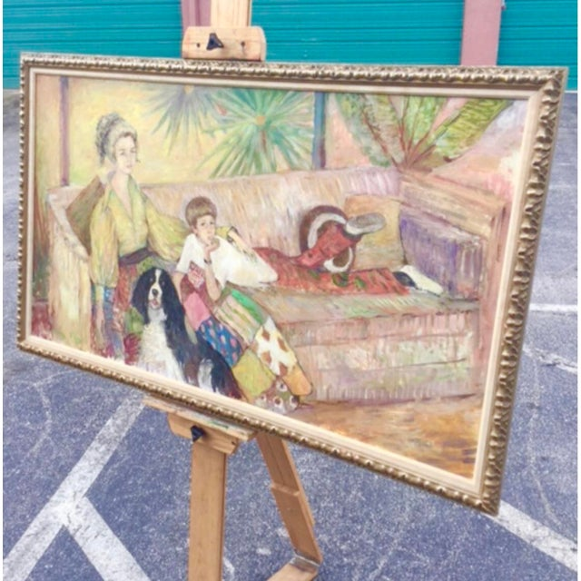 Stunning portrait of Florida family by Palm Beach celebrity artist Ouida George. Large scale painting full of color and...