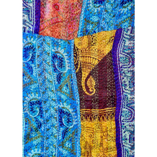 Canvas Large Vintage Indian Textile Art With Custom Frame For Sale - Image 7 of 9