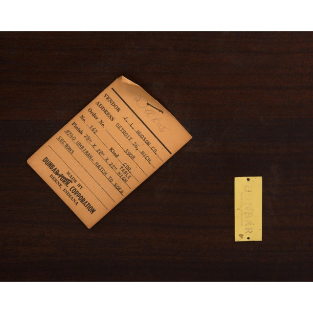 Cantilevered Edward Wormley Dunbar Square Side End Table 1960s Walnut Brass Tag For Sale - Image 9 of 10