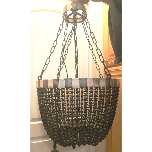 Noir Grey Beaded Chandelier With Grey and White Shell Trim For Sale - Image 13 of 13