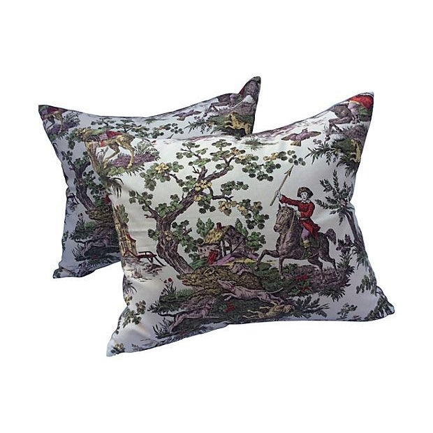 French Toile Hunt Scene Pillows - A Pair For Sale - Image 5 of 5