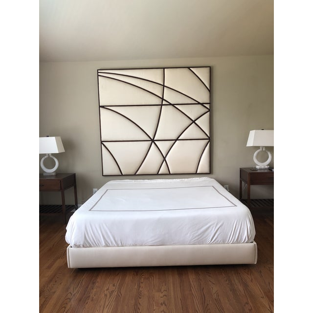 Canvas Contemporary Christopher Guy Headboard and Upholstered Bedframe in Silk Canvas - 2 Pieces For Sale - Image 7 of 7