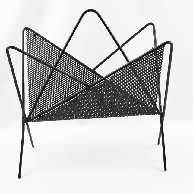 Mathieu Mategot Iconic Butterfly Magazine Holder Rack Black Perforated Metal For Sale - Image 11 of 11